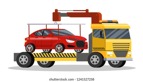 Roadside assitance with borken car on it. Tow truck transportation to repair service. Isolated flat vector illustration