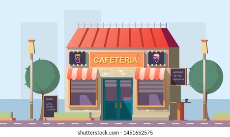 Roadside cafeteria or road cafe building with menu banner, neon glowing signboards and outdoor table stand at wayside in day time. Coffeeshop for car traveling people. Cartoon vector illustration