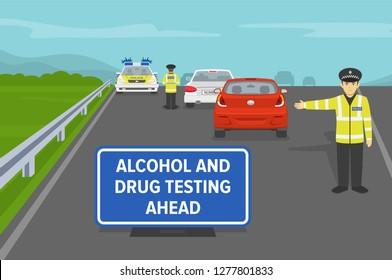 Roadside drug testing. Police officers testing drivers on higway. Flat vector illustration.
