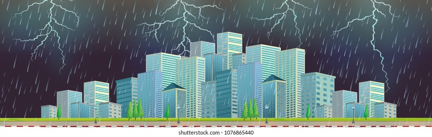 Roadside with Modern Cityscape Thunderstorm illustration