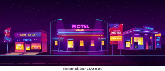 Roadside motel with car parking, oil station coffee and burger cafe glowing at night with ultraviolet neon light background. 24 hours comfortable accommodation for tourists Cartoon vector illustration