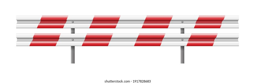 Roadside obstacles, 3d roadblocks in white and red isolated on white background. Protection fence for highway and motorway. Traffic barrier. Vector illustration