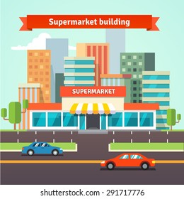 Roadside supermarket or local store and cityscape background. Flat isolated vector illustration.