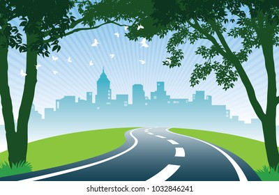 Roadside trees. Cheerful summer day. View of road, trees, meadows and the skyline of the city.