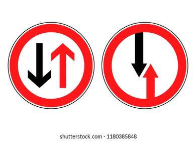 roadsigns Priority Road or Oncoming Traffic