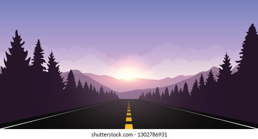 roadtrip adventure staight road and forest landscape at sunrise vector illustration EPS10