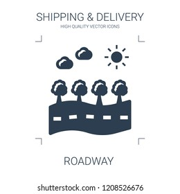 roadway icon. high quality filled roadway icon on white background. from shipping delivery collection flat trendy vector roadway symbol. use for web and mobile