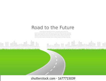 Roadway journey to the future. Asphalt street isolated on city background. Symbols Way to the goal of the end point. Path mean successful business planning Suitable for advertising and presentstation