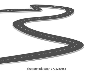 Roadway journey to the future. Asphalt street isolated on white background. Symbols Way to the goal of the end point. Path mean successful business planning Suitable for advertising and presentstation