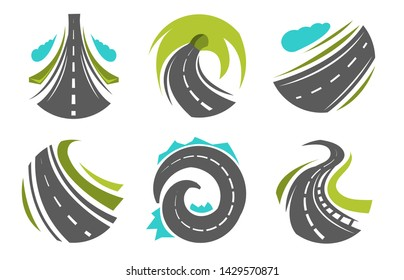 Roadway or route highway and roads navigation isolated icons vector transport business corporate identity direction speedway transportation tourism curve or turn motorway asphalt map segments
