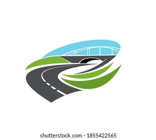 Roadway turn, freeway under bridge icon. Highway level junction, modern motorway intersection with tunnel or bridge vector. Road journey, logistics and transportation industry emblem design element