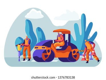 Roadwork and Asphalt Paving. Men in Overall Characters with Heavy Asphalting Machinery. Special Transport, Pavement Compactor. Construction Industry, Building Business Cartoon Flat Vector Illustration