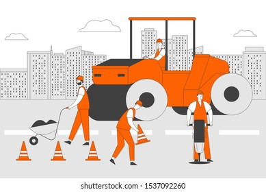 Roadwork and Asphalt Paving. Men in Overall with Heavy Asphalting Machinery. Special Transport, Pavement Compactor. Construction Industry, Building Business. Cartoon Flat Vector Illustration, Line Art