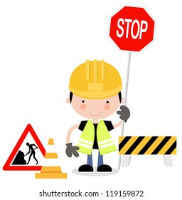 Roadwork Signs with Man Holding up Hand to Stop Traffic