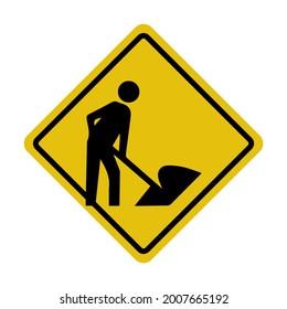 Roadworks ahead warning vector isolated board sign design.
