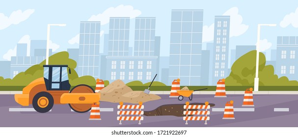 Roadworks in the city. Steamroller in front of a pit surrounded by traffic cones. Urban road construction, repair. Compactor asphalting a highway. Vector illustration in flat cartoon style