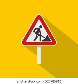 Roadworks sign icon. Flat illustration of roadworks sign vector icon for web isolated on yellow background