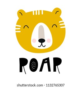 Roar - Cute hand drawn nursery poster with cartoon tiger and lettering. Vector illustration in scandinavian style.