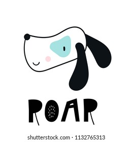 Roar - Cute hand drawn nursery poster with cartoon dog and lettering. Vector illustration in scandinavian style.