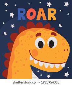 roar lettering and one kids illustration of a orange dinosaur vector illustration design