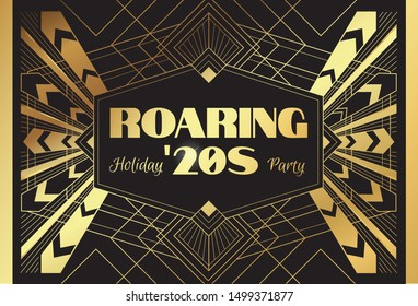 Roaring 20's Holiday Party - template for card, poster, flyer with art deco theme. Vector illustration in golden color
