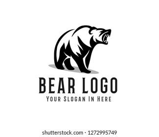 roaring bear drawing art logo design inspiration
