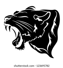 roaring big cat vector illustration - black over white