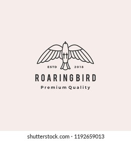 roaring bird logo retro hipster vintage vector icon illustration