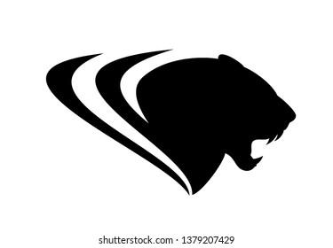 roaring black panther profile head - vector silhouette design