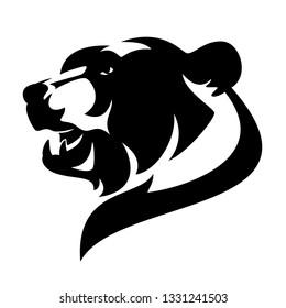 Braunbär (ursus arctos) Profil Kopf - Wildtier, schwarz-weiß, Vektordesign