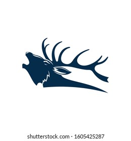 Roaring deer isolated black silhouette of red elk stag. Vector reindeer buck, head with antlers