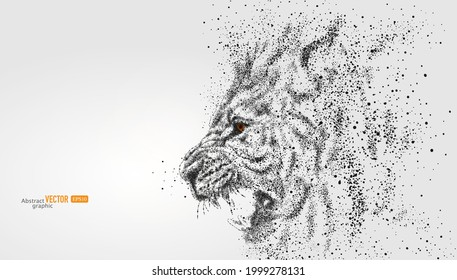 A roaring lion is composed of particles on gray background. Abstract vector animal background.