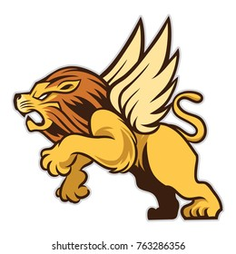 Roaring Lion Has Wings that Can Fly to The Sky : Layered Vector Illustration - Easy to Edit, The Wings Can Delete Easily if You Dont Need