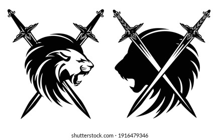 roaring lion head with crossed knight swords - medieval heraldry black and white vector design set