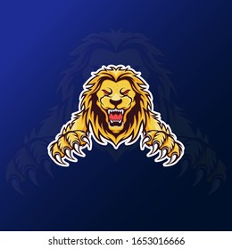 roaring lion mascot for esport gaming logo vector