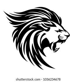 roaring lion profile portrait - side view animal head black and white vector design