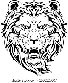 Roaring lion tribal style tattoo