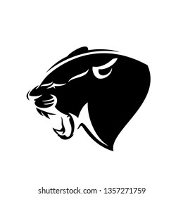 roaring panther profile head - black leopard side view vector design