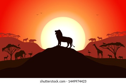 Roaring silhouette of a lion standing on a hill. Set of african animals. Vector illustration of a sunset.
