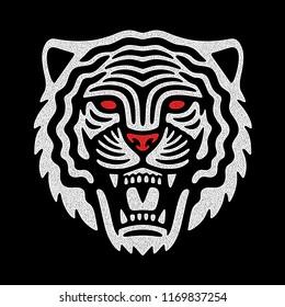 Roaring tiger logo. Sport modern emblem.  Vintage white tiger head. Retro design.