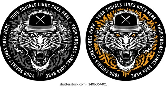 Roaring Tiger in Snapback on graffiti abstract circle backdrop. Sticker design.Two colour variations. Vector art.