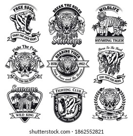Roaring tigers set. Monochrome design elements with animal heads, human skulls in tiger skin and text. Power or wildlife concept for stamps and emblems templates