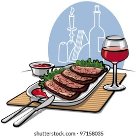 Roast beef and red wine