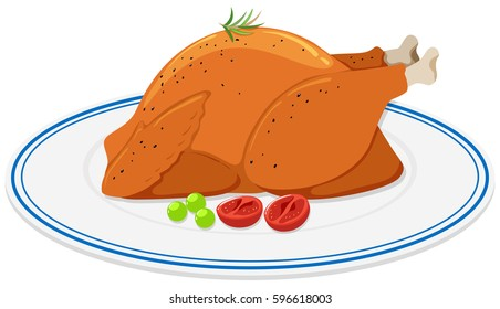 Roast chicken on round plate illustration