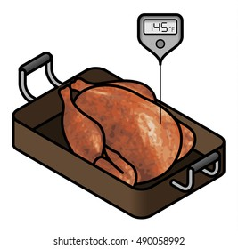 A roast chicken/turkey in a roasting pan with a meat thermometer showing the minimum safe cooking temperature of 145 F.