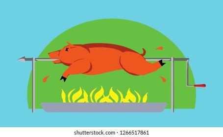 A roast pig on a BBQ spit. Vector illustration.