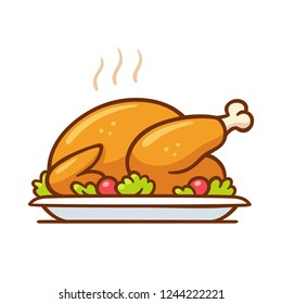 Roast turkey or chicken on plate, traditional holiday dinner vector clip art illustration. Simple cartoon style isolated drawing.