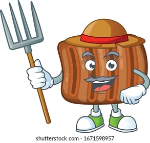 Roasted beef in Farmer mascot design with hat and pitchfork