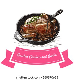 Roasted Chicken and Garlic colorful illustration. Vector illustration of French cuisine.