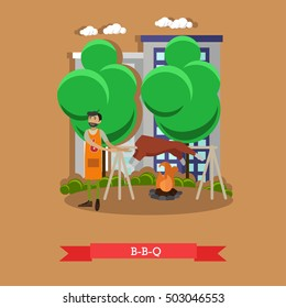 Roasted lamb meat on a spit. BBQ pig grilled on fire. Vector illustration.